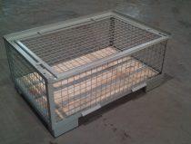 Alacsony gitterbox Rácsos tároló konténer  lehajtható oldalfal és fedél EUR raklap méret belül 1200x