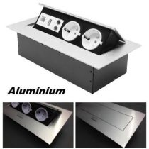 Asztallapba pultba süllyeszthető dupla konnektor USB + audió + UPT cat5 RJ45 aljzat Süllyesztett USB