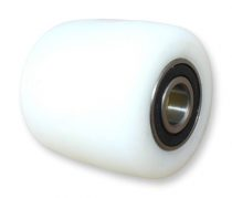 Ø 80 mm rraklapemelő, raklapmozgató görgő Szélesség 70 mm  polyamid Tengely átmérő: 17, 20, 25 mm