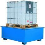 IBC tartály tartó állvány és kármentő tálca egy 1000 literes tartály számára