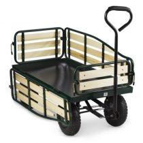Platós kézikocsi lehajtható oldalfal 300 kg teherbírással. Szállítókocsi nagyméretű kerekekkel