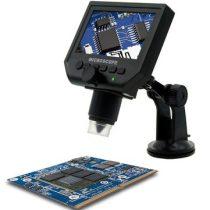 Hordozható LCD digitális mikroszkóp 600X, asztalra rögzíthető, válsztható dőlés szög.