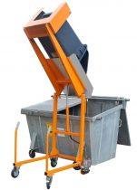 Hulladék tartály üritő szerkezet kukaborító - 230V akkumulátoros meghajtással - 120 és 240 literes hulladékgyűjtő edényhez