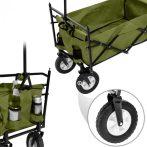 Kiskocsi, összecsukható kézikocsi, nagy méretű, önbeálló kerekekkel, kirándulókocsi kerti kocsi hord
