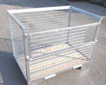 Rácsos tároló konténer horganyzott DIN 15155 szabvány szerint, EUR raklap méret