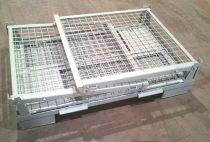 Rácsos tároló konténer összecsukható DIN15155 szabvány szerint, EUR raklap méret