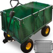 Kiskocsi, húzható kézikocsi 550 kg teherbírású, 40 cm magas lehajtható oldalfal, levehető kar, géppe