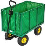 Kiskocsi, húzható kézikocsi 550 kg teherbírású, 50 cm magas lehajtható oldalfal, levehető kar, géppe