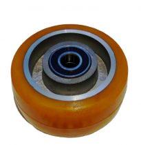 Ø 100 mm támasztó, stabilizáló kerék targonca raklapemelő kerék uretan acél ház poliuretán