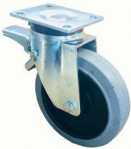 Ø 200 mm támasztó, stabilizáló kerék fékkel kézikocsi,targonca raklapemelő kerék gumi futófelület