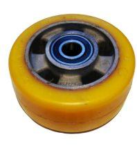 Ø 85 mm támasztó, stabilizáló kerék targonca raklapemelő kerék uretan acél ház poliuretán