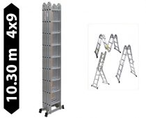 Többfunkciós  lépcsőlétra csuklós létra 10,3 méter magas 4 részes összehajtható, összecsukva csak 26