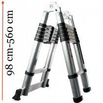 Teleszkópos, alumínium, kétágú létra kinyitva 560 cm, összecsukva 91 cm magas. Multifunkciós, változ