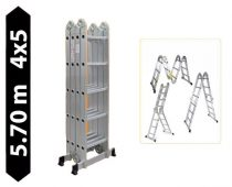 Többfunkciós csuklós létra 5,7 méter magas 4 részes összehajtható, összecsukható, 4x5 létrafok