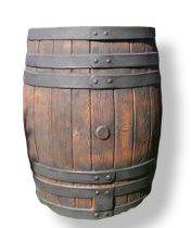 Esővízgyűjtő tartály víztartó 450 literes fahordó mintájú műanyag hordó ciszterna