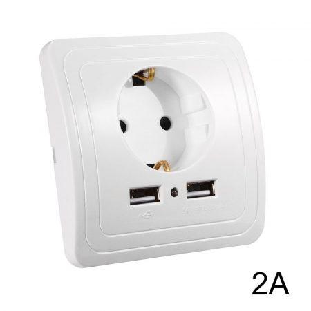 Hálózati konnektor 2 USB aljzattal süllyesztett kivitel fehér