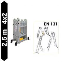 Többfunkciós csuklós létra 2,5 méter magas 4 részes összehajtható, összecsukható, 4x2 létrafok.