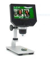Hordozható LCD digitális mikroszkóp 600X, alumíniumöntvény állványon, finom magasság állítás