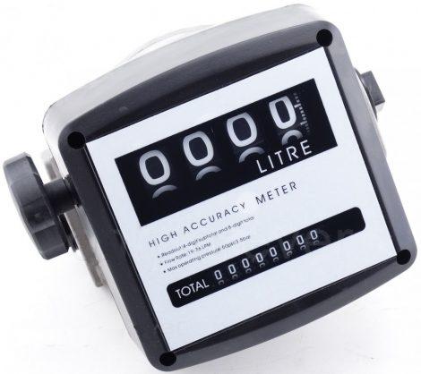 Gázolaj üzemanyag átfolyásmérő 4 digites kijelző és összmennyiség számláló dízel üzemanyag
