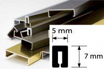 AV Díszprofil bordűr burkolóprofil alumínium dekorcsík 5x7x2700 mm fém díszcsík padlólap csempe kültéri beltéri