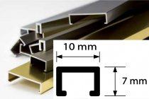 Díszprofil bordűr burkolóprofil alumínium dekorcsík 10x7x2700 mm fém díszcsík padlólap csempe kültér