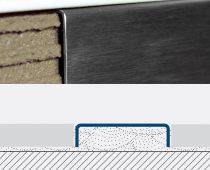 Rozsdamentes dekorcsík bordűr burkolóprofil polírozott inox 25x7x2700 mm fém Díszcsík csempe padlóla