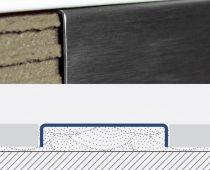 Rozsdamentes dekorcsík bordűr burkolóprofil polírozott inox 40x7x2700 mm fém Díszcsík csempe padlóla