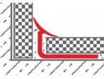 Csempe padlólap belső sarok profil hidegburkolat burkolóprofil 6-7 mm-es lapokhoz
