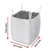 Big Bag zsák 1000 kg 4 füles hevederfüles tároló zsák 90x90x165 cm targoncával, daruval mozgatható