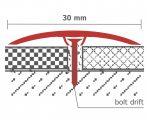 Csavarozható burkolatváltó szintkülönbség kiegyenlítő profil 30 mm széles  270 cm