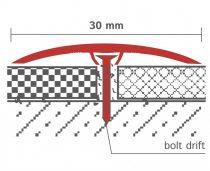 Csavarozható burkolatváltó szintkülönbség kiegyenlítő profil 30 mm széles  90 cm