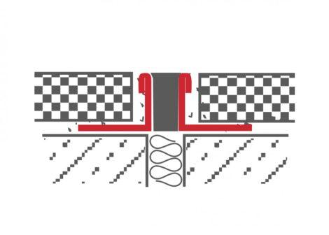 Dilatációs inox burkolatváltó profil rozsdamentes 8-10-12 mm magas 10 mm széles szürke betét