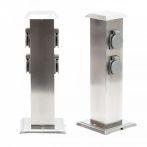 Rozsdamentes kerti konnektor, 4 db aljzat, 40 cm magas inox szögletes alakú elosztó 230V feszültségg