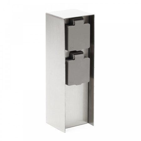Rozsdamentes kerti konnektor dupla aljzattal, szögletes alakú 23 cm magas inox elosztó 230V feszülts