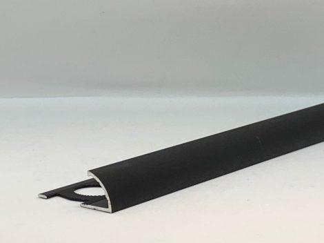 Negyed köríves domború fém csempeszegély padlólap élvédő matt fekete 12 mm