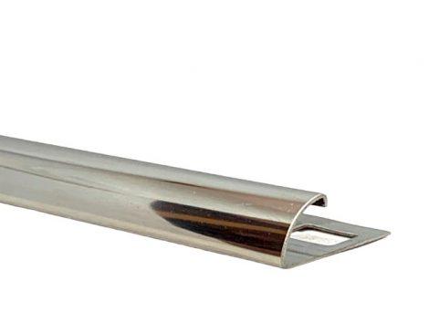 Negyed köríves fém csempe élvédő, válaszható körívű méretben roszdamentes inox 8mm saválló acél