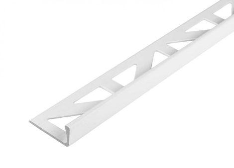 L alakú alumínium csempeszegély fényes fehér színű élvédő 10 mm-es profil