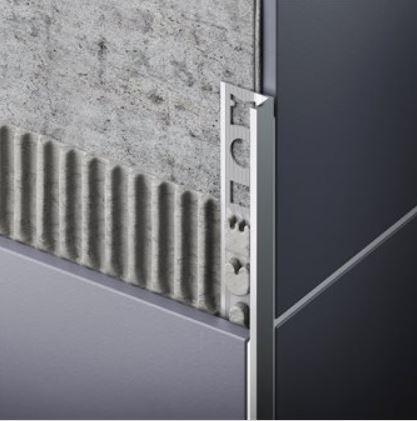 L alakú vékony PVC csempe élvédő, élzáró profil válaszható méretben 8-10 mm-es lapokhoz