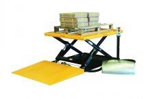 Ollós emelőasztal lift 400V elektromos kivitel 1000 kg 85-840 mm hidraulikus emelőlap felhajtó rámpá