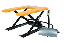 Ollós emelőasztal U alakú emelőlap 400V 1000 kg felhajtó rámpával 85-760 mm nagyméretű emelőasztalla