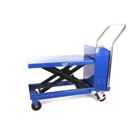 Ollós elektromos emelőasztal kézi szállító és hidraulikus emelő kocsi 300 kg teherbírás, akkumulátor