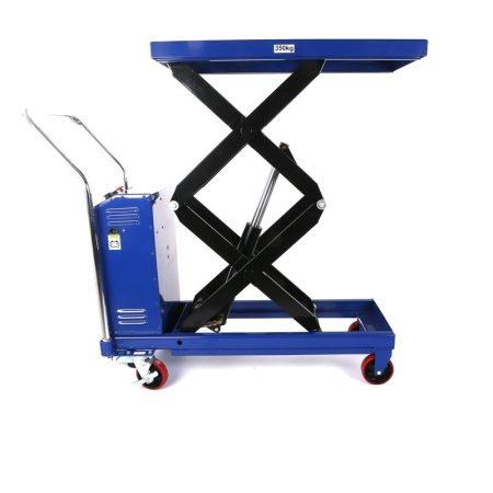 Ollós elektromos emelőasztal kézi szállító és hidraulikus emelő kocsi 350 kg teherbírás, akkumulátor