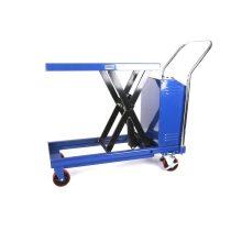 Ollós elektromos emelőasztal kézi szállító és hidraulikus emelő kocsi 500 kg teherbírás, akkumulátor