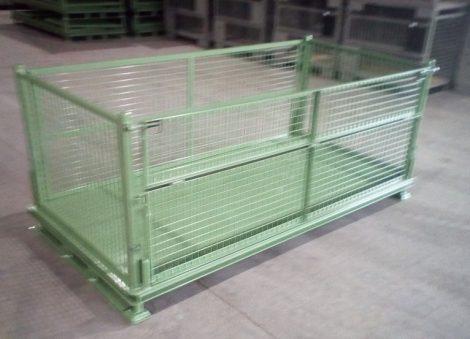 Dupla széles összecsukható gitterbox. Széles rácsos tároló konténer lehajtható oldalfal Méret belül