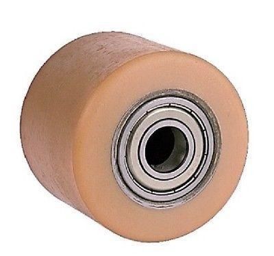 Ø 75 mm urethan raklapemelő görgő Átmérő 75 mm  Szélessége: 55 mm. Tengely: 17, 20, 25 mm