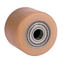 Ø 75 mm urethan raklapemelő görgő Átmérő 75 mm  Szélessége: 95 mm. Tengely: 17, 20, 25 mm