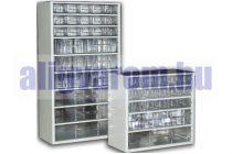 Alkatrész tároló szekrény fiókos fémszekrény szortimenter 30x55 cm 4 nagy 8 közepes fiók  Hobby box
