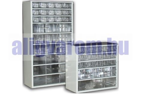Alkatrész tároló fiókos szekrény szrotimenter 55x30cm fíókos tároló, csavar tároló fakk