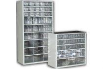 Szortimenter 30x55 cm, fémházas alkatrész tároló fiókos szekrény, 8 nagy fiók fiókos tároló, csavar