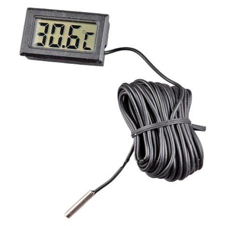 Hőmérő külső érzékelővel 10 méter kábellel, digitális hőmérséklet mérő hosszú vezetékkel